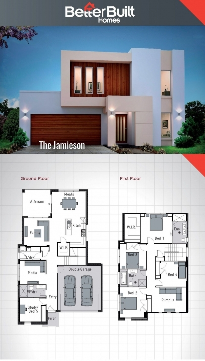 Inspirational The Jamieson: Double Storey House Design. 250 Sq.m – 10.9M X 16.6M Building Plan On Half Plot Of Land Pic