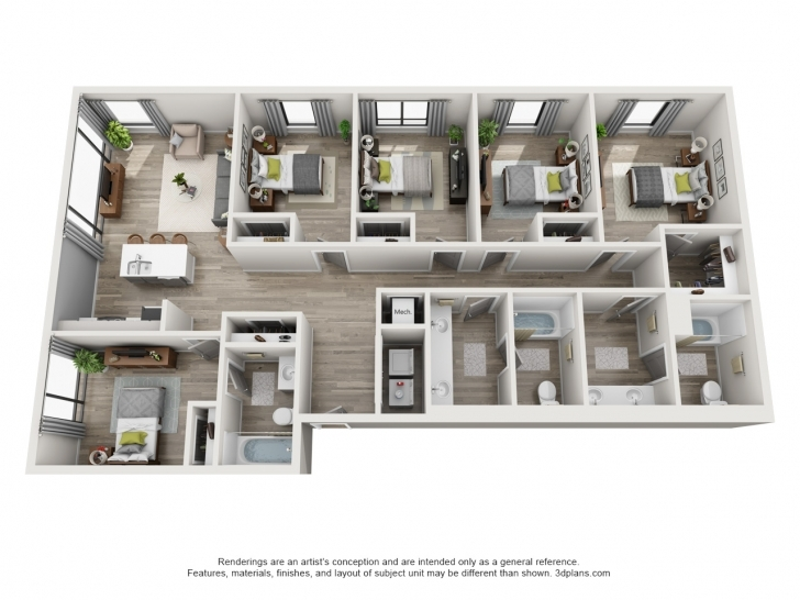 Inspiring Floor Plans The Ruckus Lofts Austin Apartments Inspirations Plan 5 5 Bedroom House Plans 3d Image