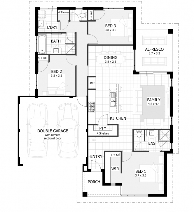 Interesting 3 Bedroom House Plans & Home Designs | Celebration Homes 3 Bedroom Flat Plan Drawing With Dimensions Photo