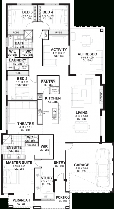 Interesting 4 Bedroom House Plans & Home Designs Perth | Vision One Homes Four Bedroom Plan House Image