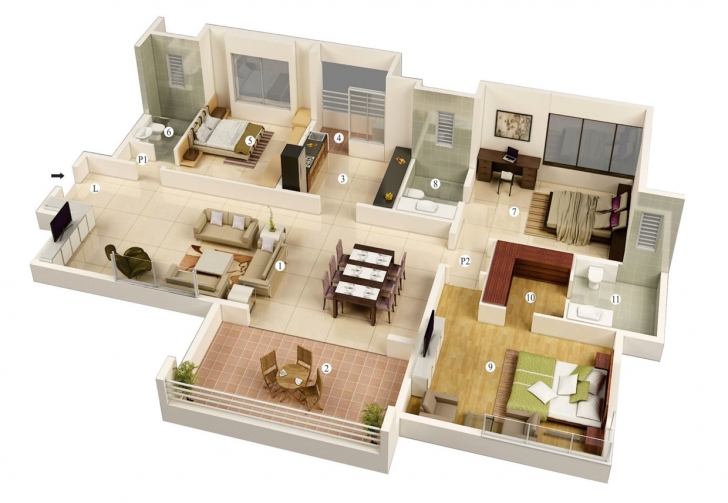 Interesting Amazing Simple 3 Bedroom House Plans And Designs — Simple House Simple House Plan With 3 Bedrooms Image