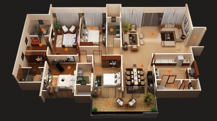 Interesting Bedroom Apartment House Plans - House Plans | #38890 Four Bedroom Plan House Pic
