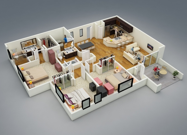 Interesting Bedroom Designs And Simple 3 Bedroom Design Garnish On Designs 17 Simple House Plan With 3 Bedrooms Pic