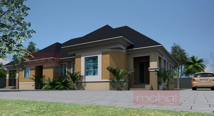 Interesting Contemporary Nigerian Residential Architecture: 4 Bedroom Bungalow + Modern 4 Bedroom Bungalow Designs In Nigeria Pic
