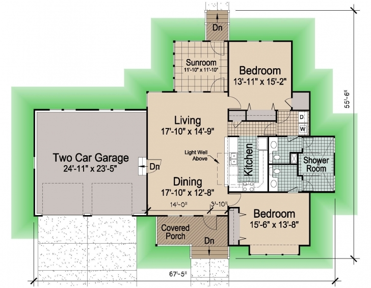 Interesting Hip Cottage With Attached Garage, 1545 Sf - Southern Cottages 1545 House Plan Image