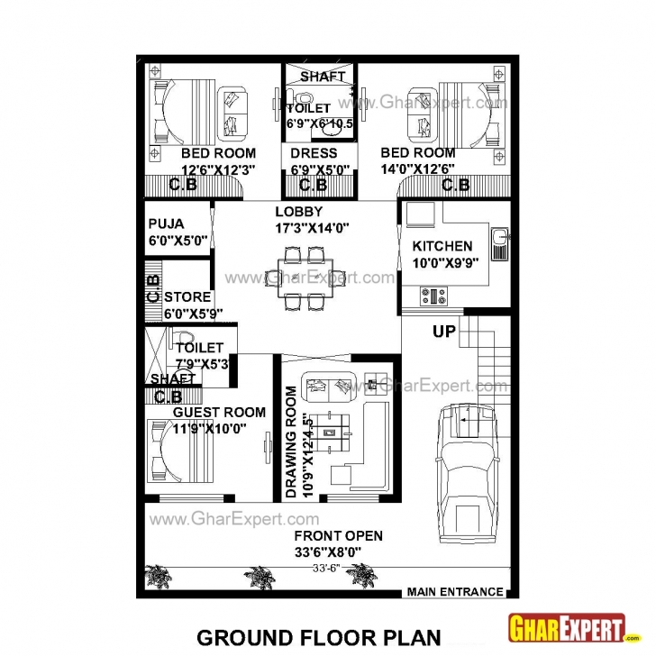 Interesting House Plan For 35 Feet By 50 Feet Plot (Plot Size 195 Square Yards House Plan For 17 Feet By 50 Feet Picture
