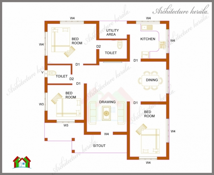 Latest 1000 Sq Ft Kerala House - Google Search   Science   Pinterest 1000 Sq Ft House Plans 3 Bedroom In Kerala Image