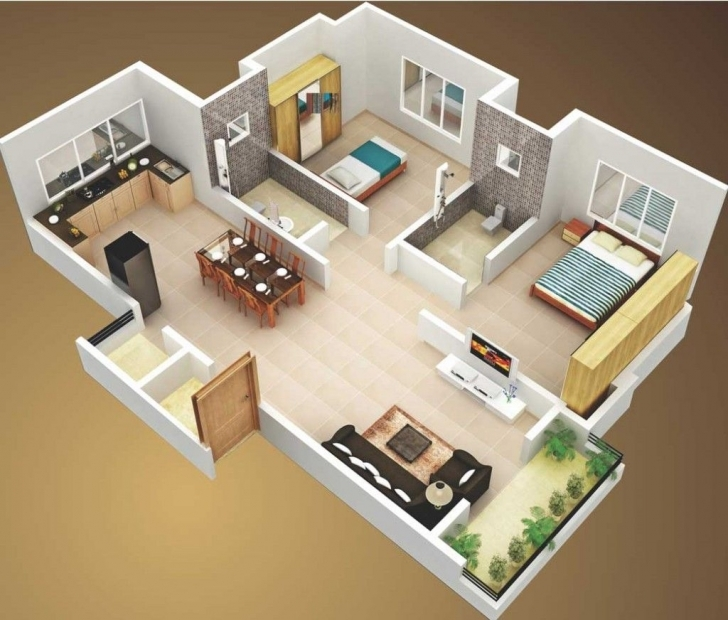 Latest 3D Small House Plans 800 Sq Ft 2 Bedroom And Terrace 2015 Simple House Plan With 2 Bedrooms 3d Image