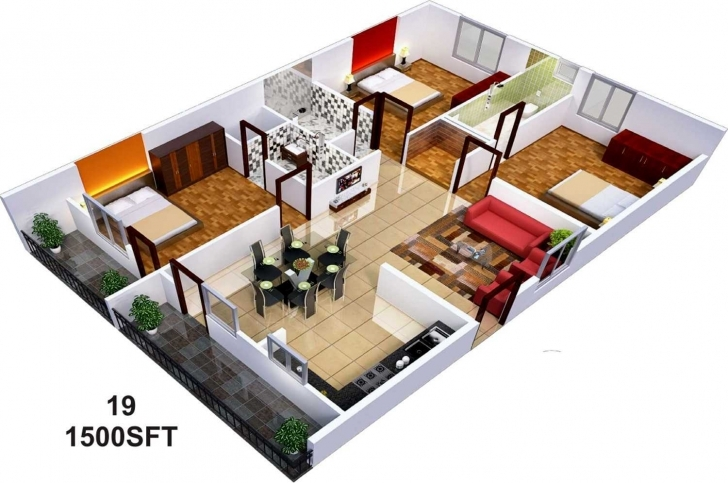 Latest Nice Simple House Plan With Trends Including Fabulous 1000 Sq Ft 1200 Sq Ft House Plans 3 Bedroom 3d Picture