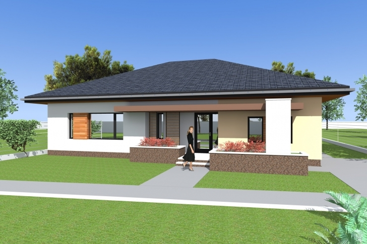 Latest Three Bedroom Bungalow Design And 3D Elevations. Single Floor House Building Plan For Four Bedroom Bungalow Image