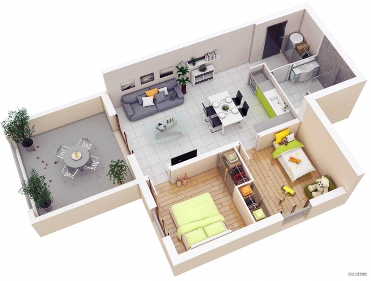 Marvelous Floor Plans Lay Out Inspirations Including Attractive 3D 2 Bedroom Simple House Plan With 2 Bedrooms 3d Image