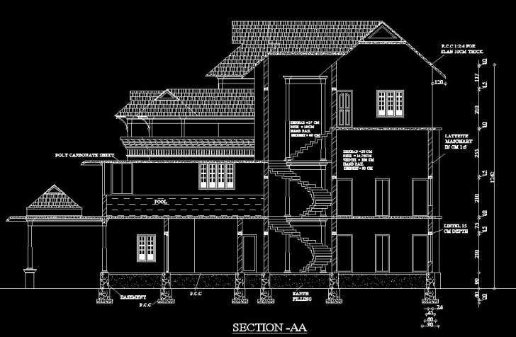 Marvelous Traditional Architecture Customised – Sabeercad Residential Building Plan Section Elevation Dwg Picture