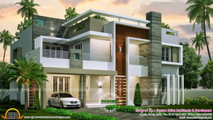Most Inspiring Bedroom Contemporary Home Design Kerala Floor - Building Plans Kerala Modern House Design 2017 Image