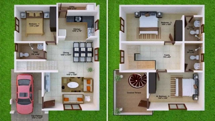Most Inspiring Fascinating 1000 Sq Ft House Plans With Car Parking Including Plan 1000 Sq Ft Duplex House Plans With Car Parking Image