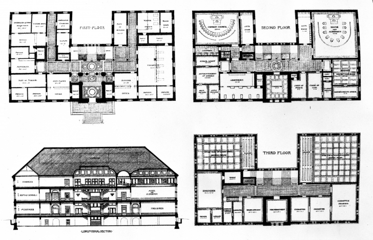 Most Inspiring File:cambridge, Massachusetts City Hall - Elevation And Floor Plans Floor Plan With Elevation Picture