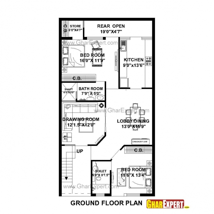 Most Inspiring House Plan For 27 Feet By 50 Feet Plot (Plot Size 150 Square Yards 12 By50 House Plan Picture