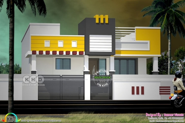 Most Inspiring Modern South Indian Style Single Floor Home - Kerala Home Design And South Indian House Front Elevation Designs For Single Floor Pic