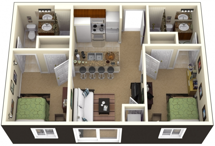 Most Inspiring Two Bedroom House Design Pictures Trendy 2 Bedroom House Plans Two Bedroom Plan Design Image