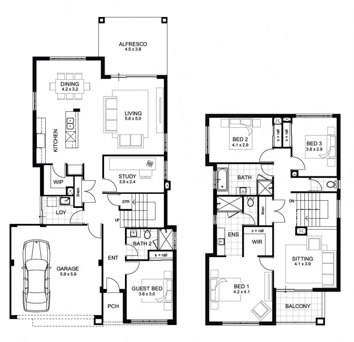 Must See Double Storey 4 Bedroom House Designs Perth   Apg Homes Two Storey House Plans With Balcony Picture