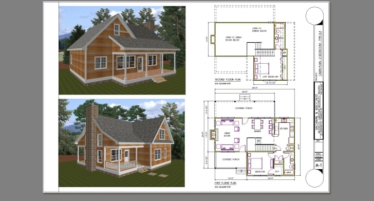 Outstanding Small 2 Bed 1Bath With Loft Floor Plans | Two Bedroom Cabin Plan 2 Bedroom House Plans With Loft Picture
