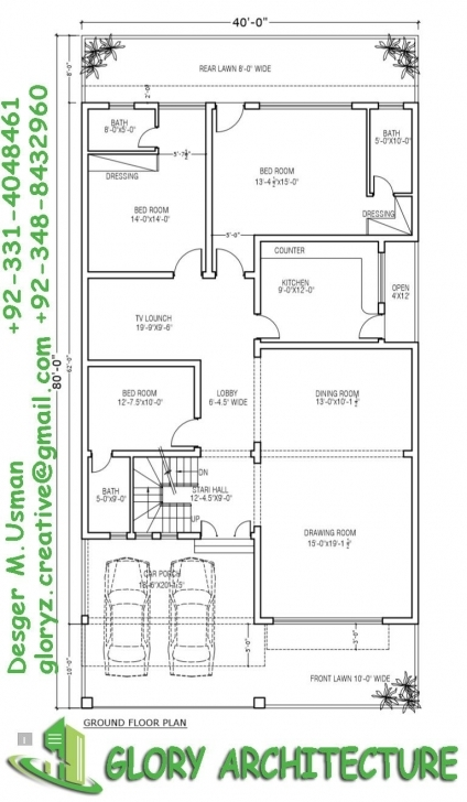 Picture of 40X80 House Plan, 10 Marla House Plan, 12 Marla House Plan, Best 12 Marla House Plan Photo