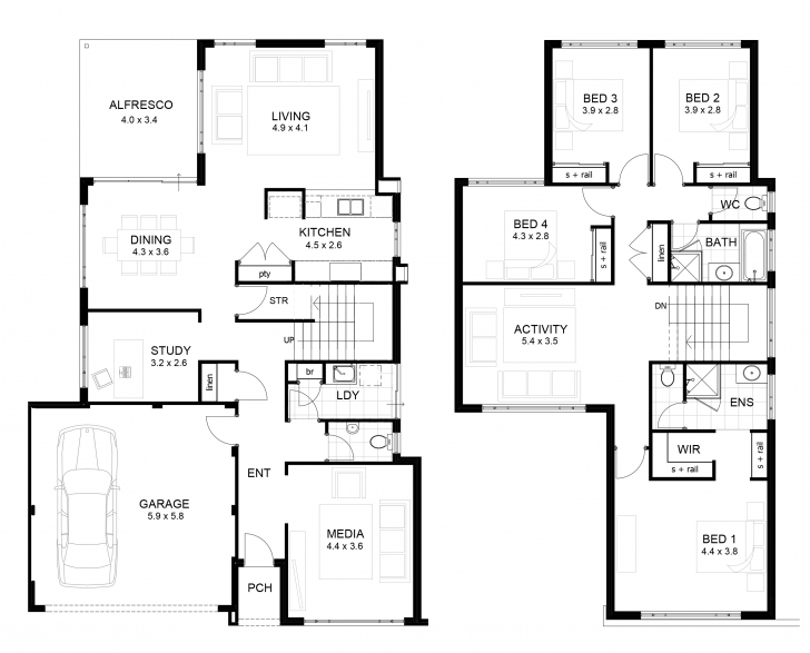 Picture of Double Storey 4 Bedroom House Designs Perth   Apg Homes Two Storey House Plans With Balcony Pic