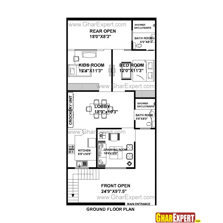 Picture of House Plan For 25 Feet By 53 Feet Plot (Plot Size 147 Square Yards House Plan For 17 Feet By 50 Feet Photo