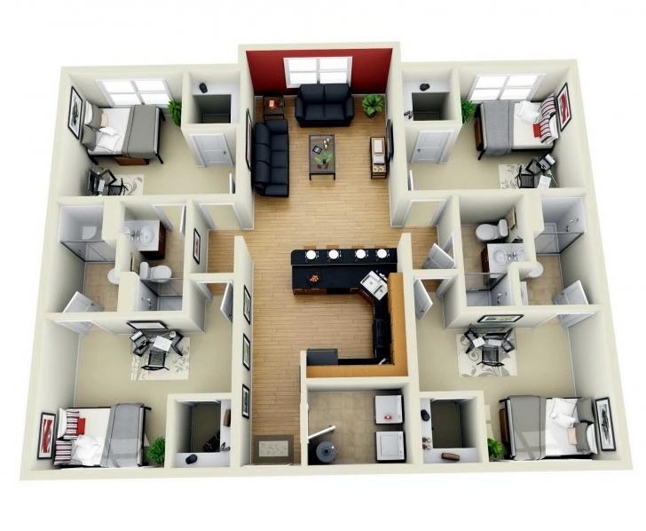 Picture of Outstanding 4 Bedroom Bungalow Floor Plan 3D Inspirations And Plans 3d 4 Bedroom House Plans One Story Photo