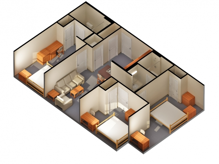 Picture of Simple House Designs 2 Bedrooms Two Bedroom House Design Plan Guest Simple House Plan With 2 Bedrooms 3d Image