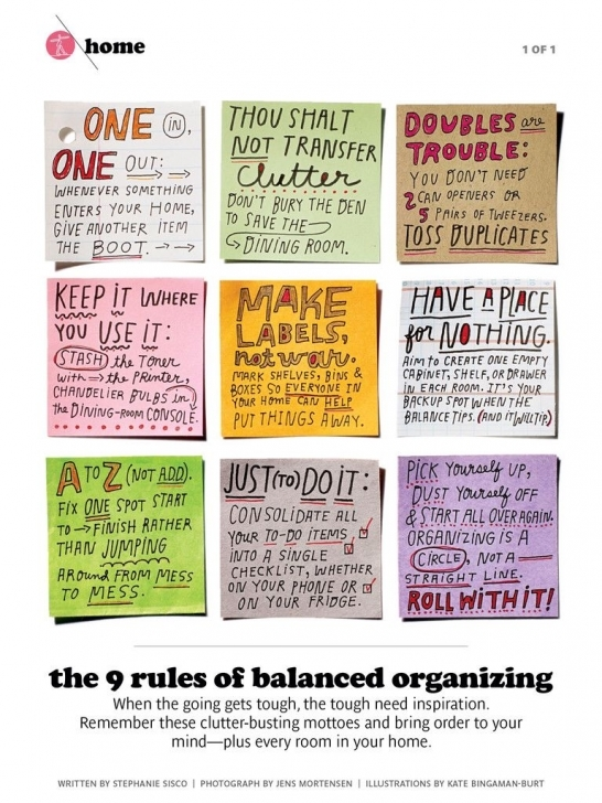 "Picture of The 9 Rules Of Balanced Organizing - ""one In, One Out. Thou Shalt Simple Housekeeping Rules Picture"