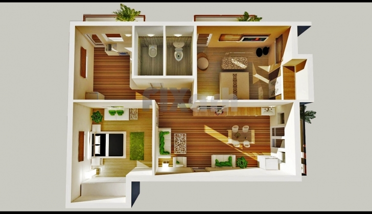 Popular 2 Bedroom House Plans Designs 3D Small House - House Design Ideas Two Bedroom Plan Design Pic