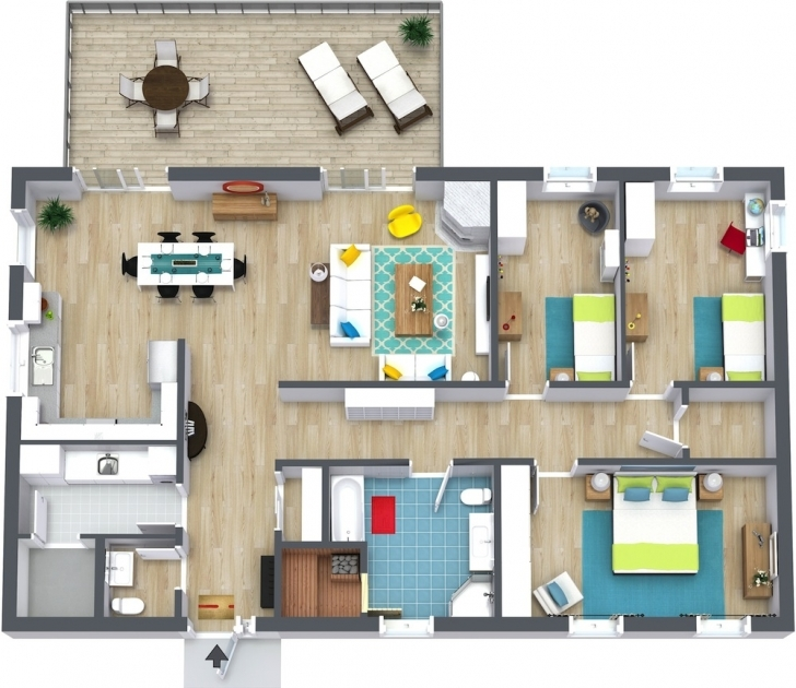 Popular 3 Bedroom Floor Plans   Roomsketcher 3 Bedroom House Plans With Photos Pic