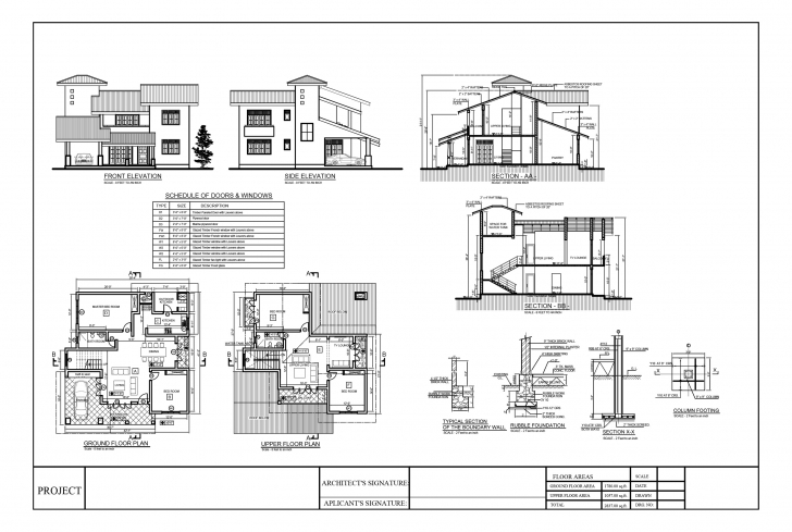 Popular Premium Quality Four Bedroom Double Story House Plan Residential Building Plan Section Elevation Dwg Photo