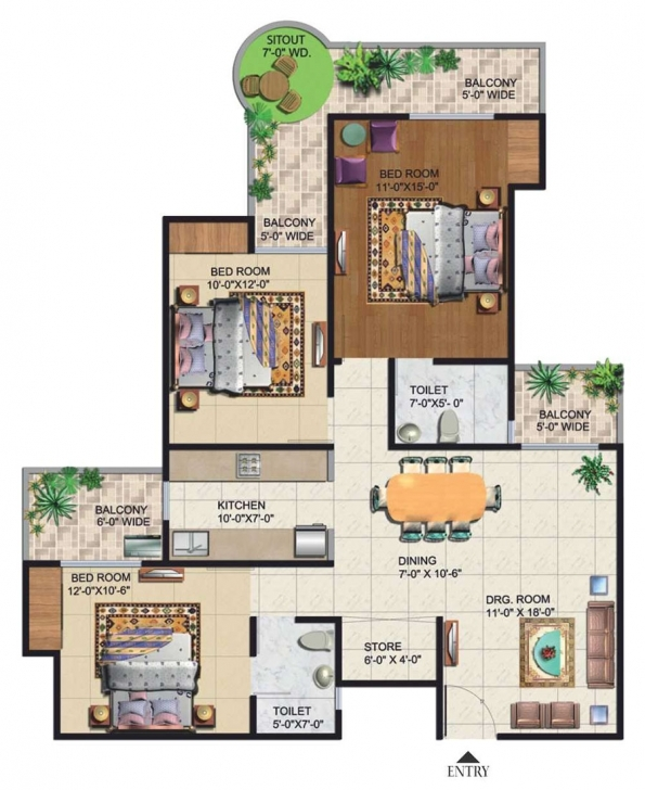 Remarkable Grand Ajnara™ Heritage | Floor Plans 1545 House Plan Picture