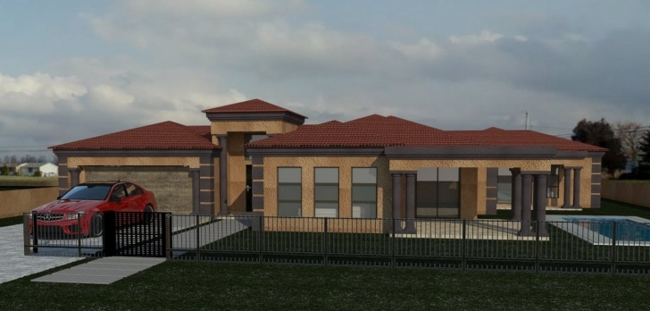 Remarkable Home Architecture: Tuscany House Plan In Southrica Notable Bedroom 4 Bedroom Single Story House Plans In South Africa Picture