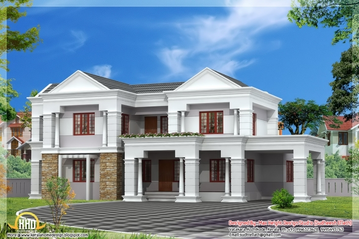 Remarkable Sloping Roof Indian House Elevation - 3300 Sq.ft. | Home Appliance 1550 House Front Elevation Image