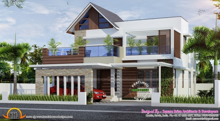 Stunning House Plan 4 Bedroom Attached Modern Home Design Kerala Home Design Kerala Modern House Design 2017 Pic