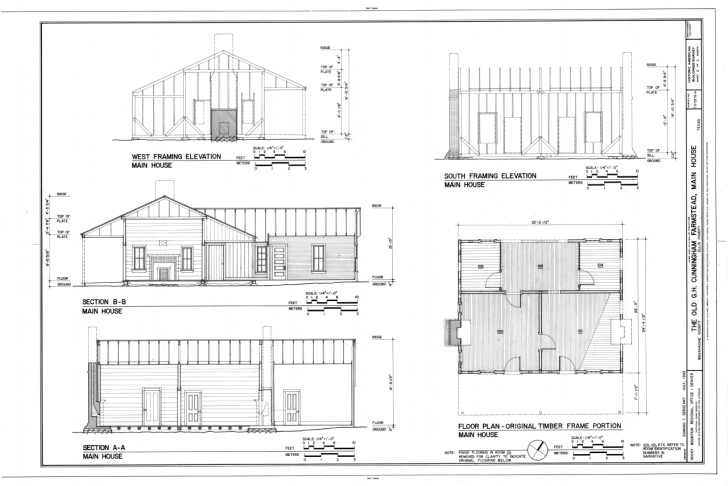 Stunning House Plan File:floor Plan Of Original Timber Frame Portion, South Plan Elevation Section Ppt Photo