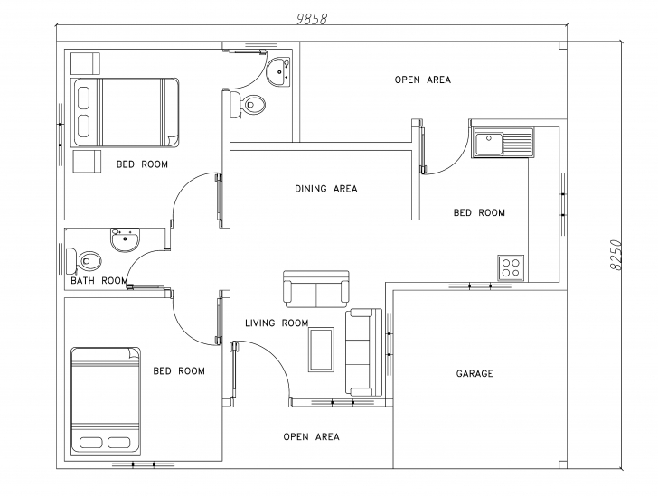 Stunning Two Bed Room Modern House Plan - Dwg Net   Cad Blocks And House Plans Free Autocad Modern House Plans Image