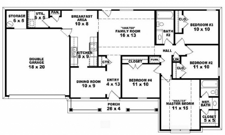 Top 4 Bedroom One Story Ranch House Plans Inside 4 Bedroom 2 The 13Th Ranch 4 Bedroom House Plans Image