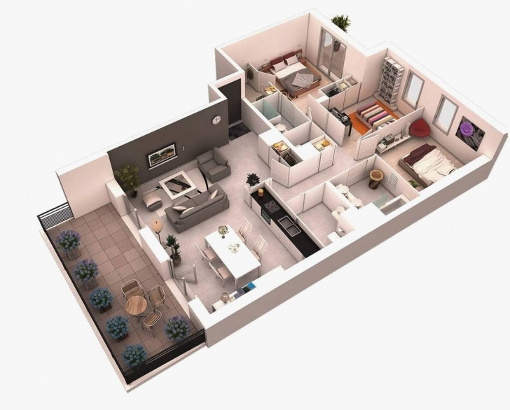 Top 6 Perfect Simple Home Plans 3 Bedrooms In 3D Simple 3 Bedroom House Simple House Plan With 6 Bedrooms 3d Photo