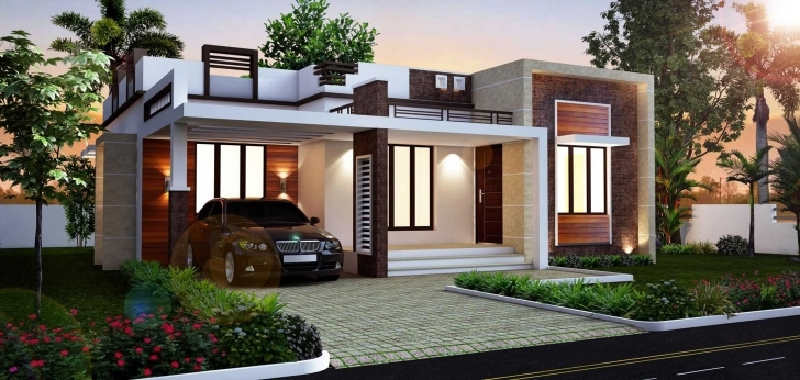 Top Beautiful Front Elevation Of Single Floor House Kerala Inspirations Single Floor House Design Photos Pic