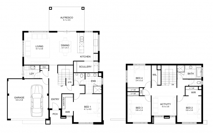 Top Double Storey 4 Bedroom House Designs Perth   Apg Homes Two Storey House Plans With Balcony Image