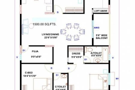 2 Bedroom House Plans Indian Style North Facing