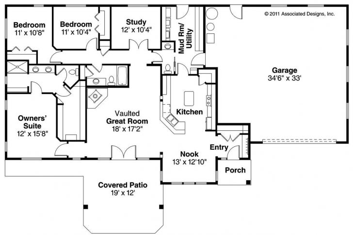 Top Photo of 3 Bedroom Ranch Style Floor Plans Ideas House Plan Unbelievable For Ranch Style House Plans Image
