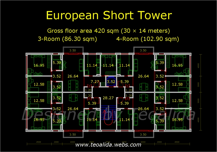 Top Photo of Apartment Plans 30-200 Sqm Designed By Teoalida | Teoalida Website Plan Of Residential Building.Dwg Image