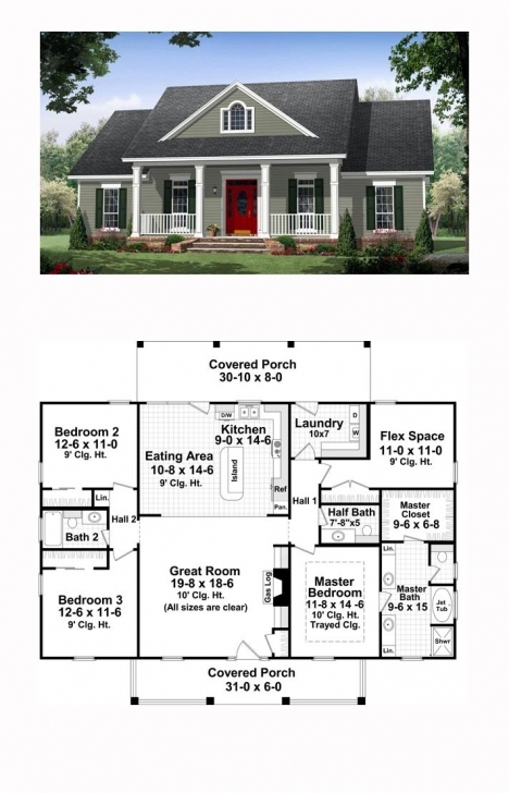 Top Photo of Colonial Country Traditional House Plan 59952 | Traditional House Half Plot Of Land Flat Design Image