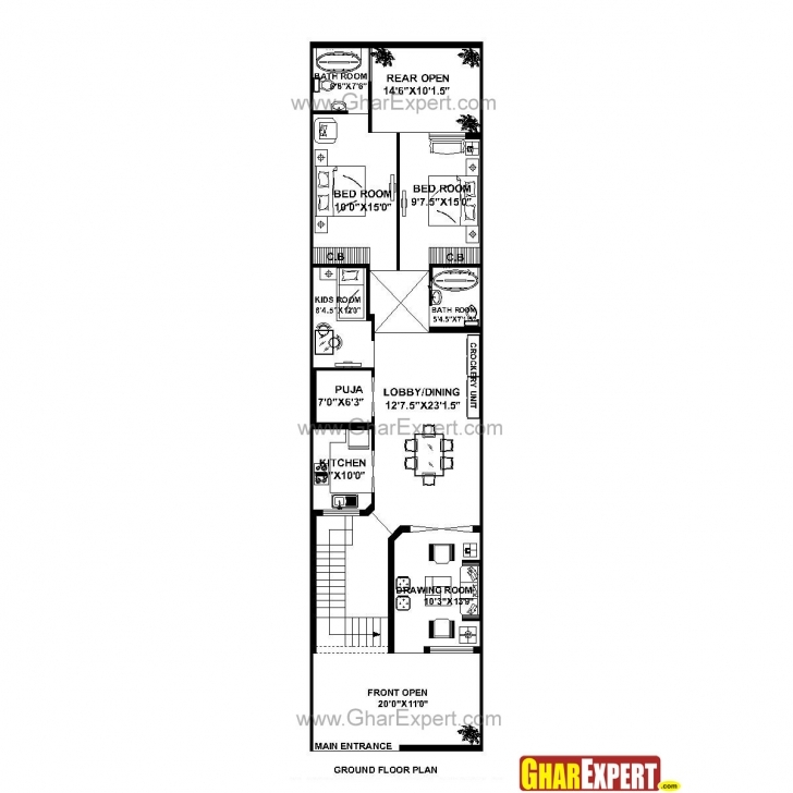Top Photo of House Plan For 21 Feet By 85 Feet Plot (Plot Size 198 Square Yards House Plan For 15 Feet By 60 Feet Plot Pic