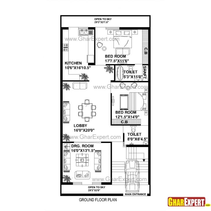 Top Photo of House Plan For 30 Feet By 60 Feet Plot (Plot Size 200 Square Yards 20 X 60 House Plans South Facing Photo