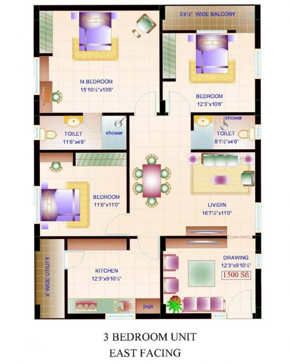 Top Photo of House Plan Home Design Square Feet House Plans Three Bedroom East 1000 Sq Ft House Plan Indian Design East Facing Picture